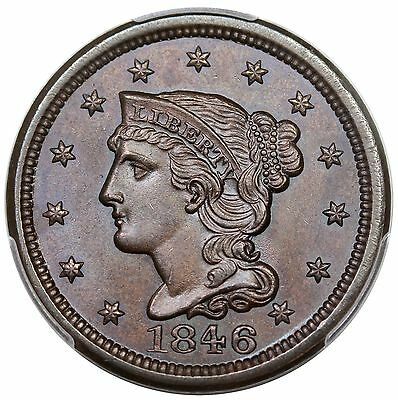 1846 Braided Hair Large Cent, Small Date, N-18, PCGS MS65BN CAC