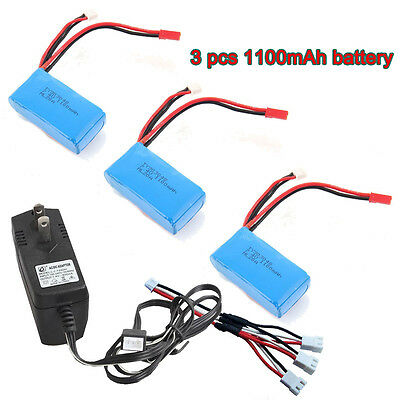 AU Local 3x 1100mAh Battery+AC Charger+Cable For WLtoys RC A949 A959 A979 V912