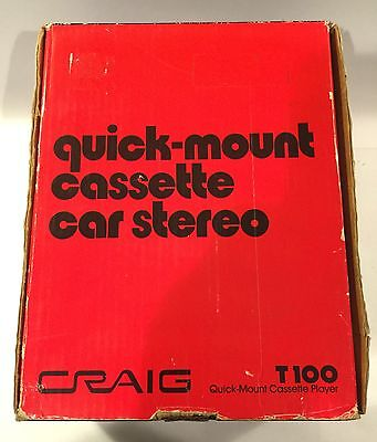 Vintage Craig T100 Quick-Mount Cassette Car Stereo Player