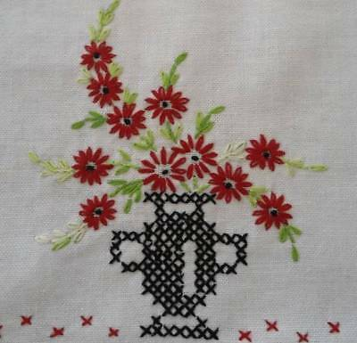 Vintage Table Runner Red Flower Urn Cross Stitch Crochet Lace 28""