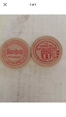 2 - Original Sambo's Wooden Nickel 10 Cent Coffee Tokens (very Nice)