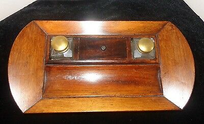 Circa 1900 Mahogany Ink well /Desk Set with two brass covered Glass Inkwells