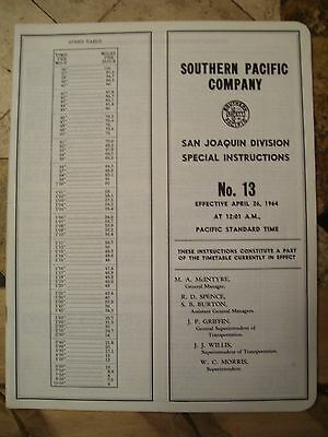Southern Pacific San Joaquin Division Employee Timetable 200 April