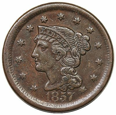 1857 Braided Hair Large Cent, Large Date, N-1, XF