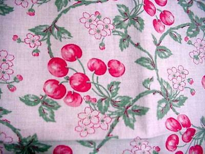 Vintage SUMMER CHERRY Blossoms Cottage Tablecloth HAND MADE Feed Sack Fabric?