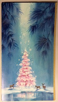 UNUSED Giant PINK Christmas Tree Three Deer 50's Vintage Christmas Greeting Card