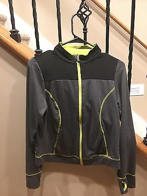 Danskin Girls Hooded Jacket Size XL 14 / 16 Black & Gray With Thumb Holes Girl's