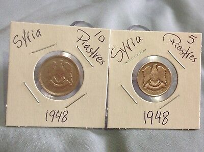 1948 Syria 5,10 Piastres, Lot Of 2 Coins, دولة سورية
