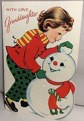 NORCROSS Little Girl Building Snowman 1950's Vintage Christmas Greeting Card