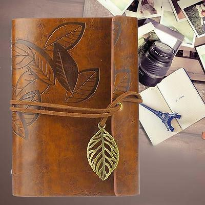 Retro Leather Vintage String Leaf Blank Diary Notebook Journal Sketchbook YLW DA