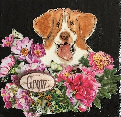 4x4 Brittany Dog Art Collage On Canvas. An Original Art By NFISH