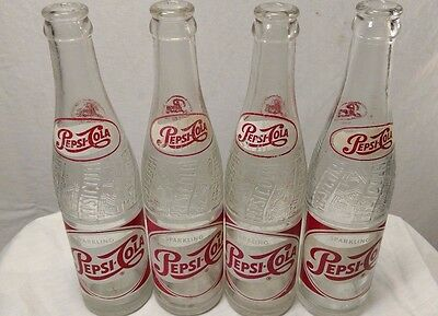 Vintage Pepsi Bottle SET of 4 Fayetteville NC Red script 10 oz drink