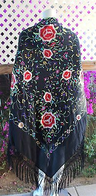 Immaculate Vintage Embroidered Black Silk Piano Shawl Roses Design