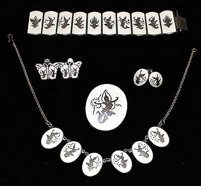 1930s Real Siam Sterling White Enamel Jewelry Lot Mekhala&Ramasoon All Marked