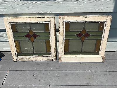 "Two Matching Victorian English Leaded Stained Glass Windows 18"" X 18"""