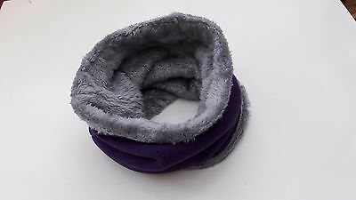 uk baby kids winter scarf snood fleece and fur lining.purple