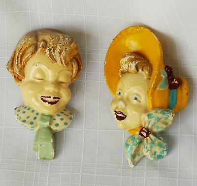 Vintage Set of 2 Plaster Chaulkware wall Plaques Boy Girl Heads