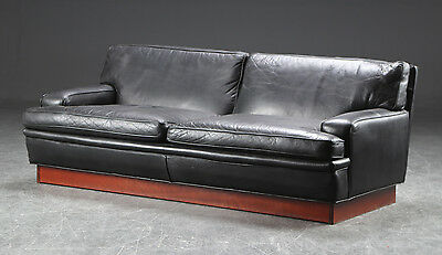 DANISH RETRO VINTAGE ARNE NORELL 2 1/2 - SEATER BLACK LEATHER SOFA 1970s