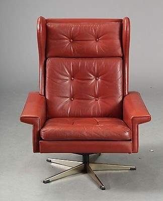 VINTAGE RETRO DANISH GEORG THAMS STYLE  LEATHER LOUNGE SWIVEL CHAIR 1970s