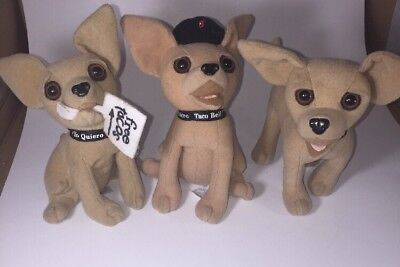 Lot Of 3 TACO BELL Talking Plush Chihuahua Dogs- Applause- Yo Quiero Taco Bell