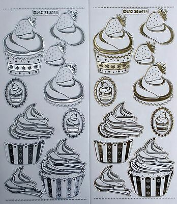 Embossed on Clear Gold or Silver 3D Party Cakes PEEL OFF STICKERS Birthday Type2