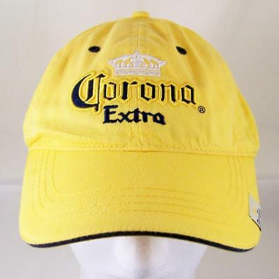 Corona Extra Beer Hat Cerveza Yellow Baseball Cap Strapback Embroidered Blue New
