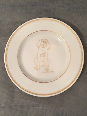 """Eschenbach Germany Spaniel Small 6"""" Porcelain Plate with Gold Trim"""