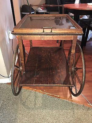 English Mahogany Serving Table Tea Cart with Glass Tray