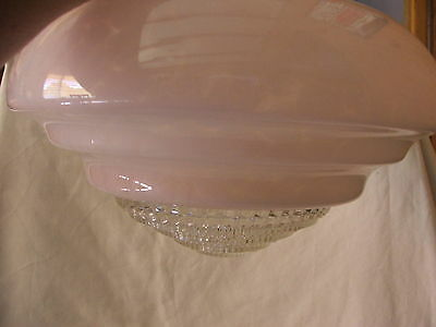 Antique 1930's Art Deco Ceiling LIGHT SHADE Pendant Lamp Pink & Glass Insert