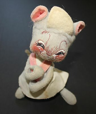 Annalee Mobilitee Doll Vintage 1971 Plush Mouse Gray White & Pink Poseable Toy