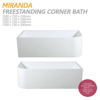 MIRANDA 1500mm 1700mm Back to Wall Corner Freestanding Lucite® Acrylic Bath Tub
