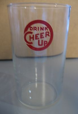 VINTAGE1940-50s CHEER UP BRAND SODA FOUNTAIN GLASS GLASSES  7 Up Competitor
