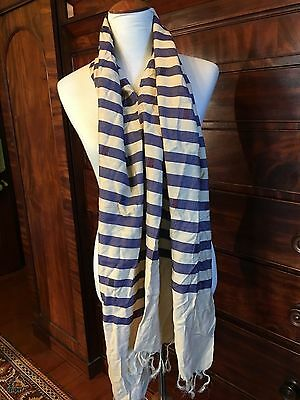 Navy and Cream Pure Silk Striped Scarf.