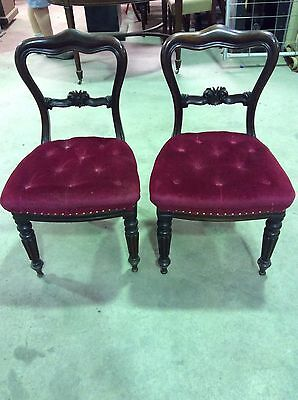 Antique Dining Chairs - Set Of 2 Beautifully Upholstered Chairs