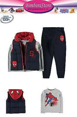 Completo 3 pezzi gilet tuta Spiderman originale marvel 2 3 4 5 6 7 8 9 10 11 12