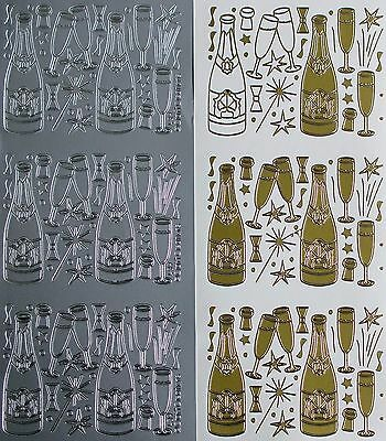 Champagne Glasses Celebration Wedding Engagement PEEL OFF STICKERS Bottles