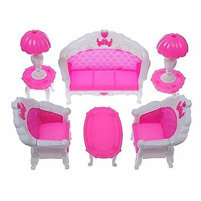 6PCS Furniture Sofa Chair Lamp Coffee Tea Table for Barbie Dolls House Set Toys