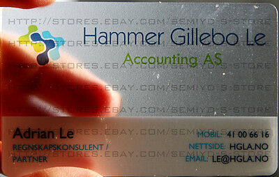 200 Full Color Frosted Transparent PLASTIC PVC Round Corner Business Cards