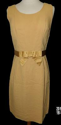 VTG 50s 60s MOD GO GO PINUP PENCIL GOLD COCKTAIL FORMAL PARTY DRESS NOS S M