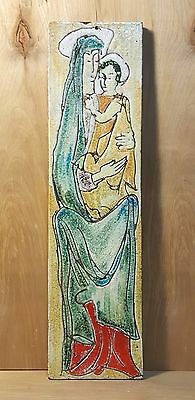 "Vintage HAND PAINTED VIRGIN MARY Ceramic 17.5"" Tall Single TILE WALL HANGING"