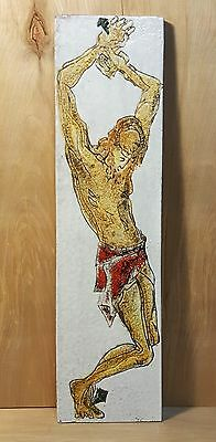 "Vintage HAND PAINTED JESUS Christ Ceramic 17.5"" Tall Single TILE WALL HANGING"