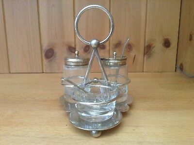 Vintage Glass & Silver Plated Cruet Set