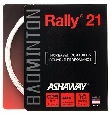 Ashaway Rally 21 Badminton String - 0.75Mm - One 10M Set - White - Rrp £10