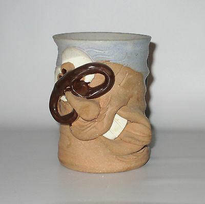 Studio Pottery Ugly Face Mug Funny Glasses Signed Hand Thrown Gray Brown OOAK