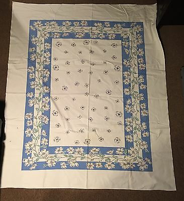 Vintage Cotton Tablecloth With Dogwood Blossoms