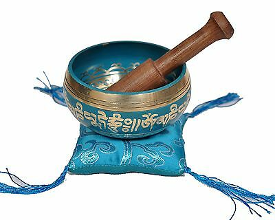 Tibetan Singing Bowl Set for Relaxation and Healing (Turquoise)