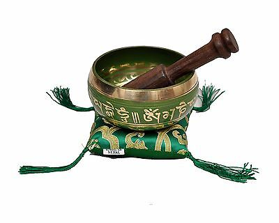 Tibetan Singing Bowl Set for Relaxation and Healing (Green)