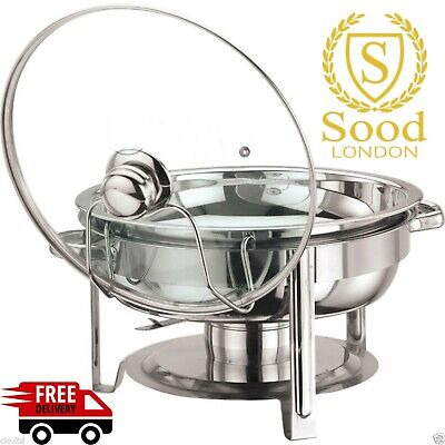 Round 4.5 Litre Chaffing Dish with glass Lid/ BUFFET DISH /PARTY FOOD WARMER