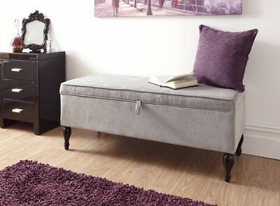 Shabby Chic Storage Seat Bench Furniture Bedroom Vintage Ottoman Wooden Legs New