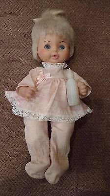 1968 VTG HORSMAN  LULLABY BABY DOLL Original Outfit w/ BOTTLE +PULL STRING-WORKS